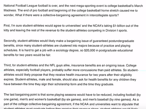 Collective Bargaining In College Sports