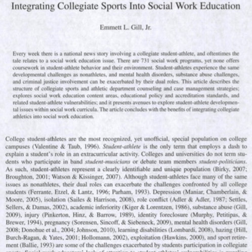 Integrating SocialWork Into College Sports