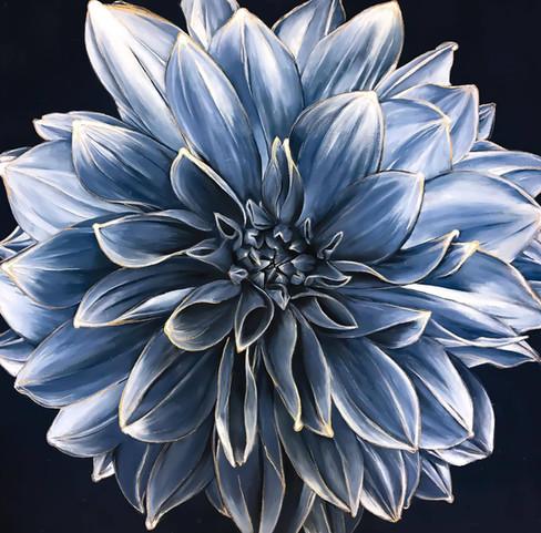 'Blue Dahlia', 42 x 42 inches, acrylic on canvas