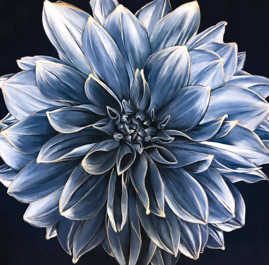 'Blue Dahlia', 42 x 42 inches, acrylic on canvas