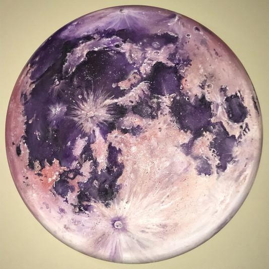'Purple Moon', 3 feet diamer, oil on canvas