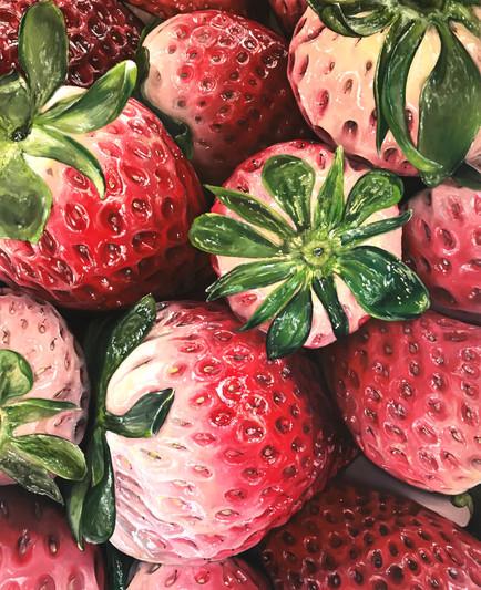 'Strawberries', 5 x 4 feet, acrylic on canvas