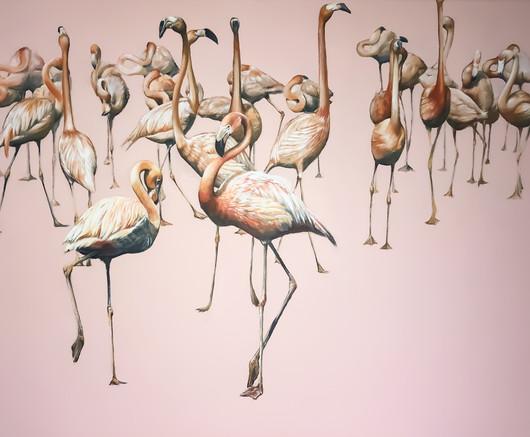 Flamingle, 24 x 36 inches, acrylic on canvas