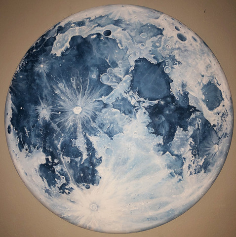 'Blue Moon', , 4 ft diameter, acrylic on canvas