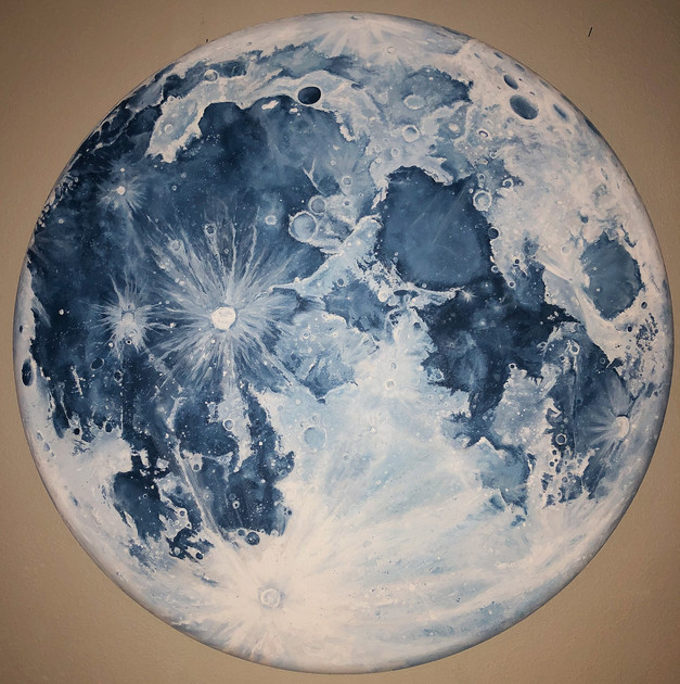 'Blue Moon', , 4 ft diameter, acrylic on canvas
