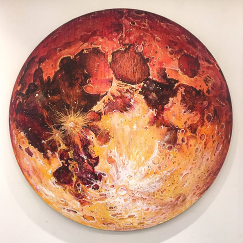 'Red Moon', 3 feet diameter, acrylic on canvas