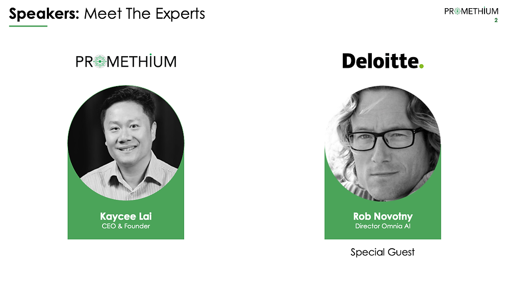 Rob Novotny from Deloitte and Kaycee Lai from Promenthium
