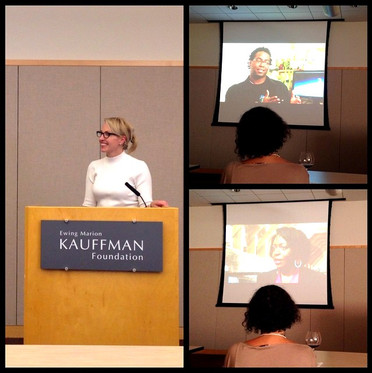 Kelly speaking at the Kauffman Foundation