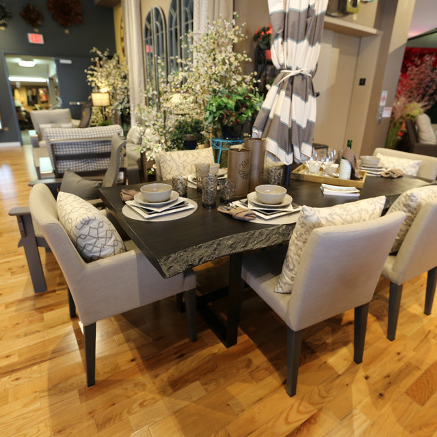 Patio Renaissance Capistrano Dining with Castelle Live Edge Dining Table