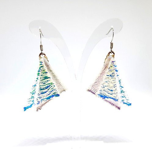 """""""Sailing"""" Silver/Pink/Blue Crystal Art Glass and silver Earrings"""