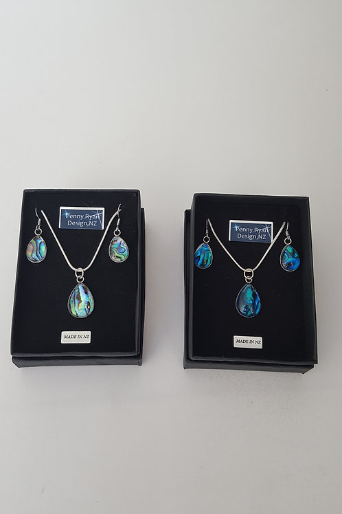 Gorgeous Matching Set of Teardrop Paua Shell Glass Pendants and Earrings