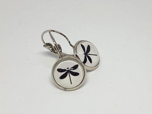 Black Dragonfly Earrings - silver Leverback Earrings
