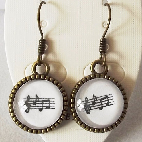 Musical Notes Earrings in Brass, Silver or Gold