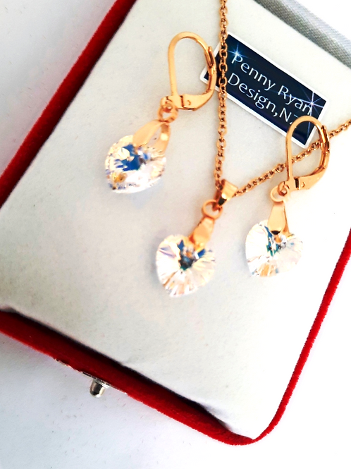 Swarovski Clear AB  Heart Crystal Pendant and Earrings on Gold