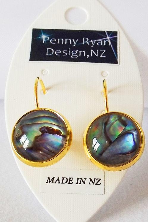Paua Shell on 18k fine gold leverback Earrings