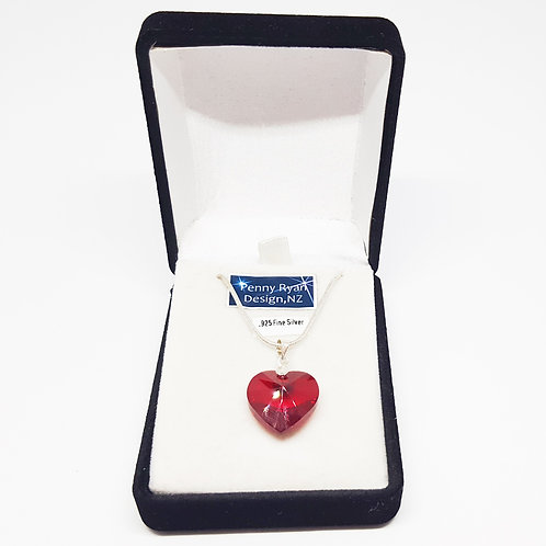 Swarovski Multifaceted 10mm or 18mm Red Crystal Heart Pendant