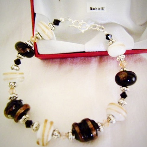 Black and White and Gold Murano Glass Bracelet