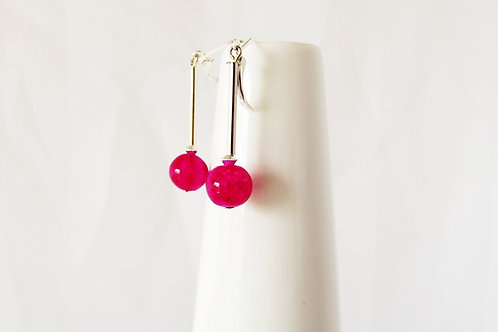 Hot Pink Sparkle Glass and Silver Leverback Earrings