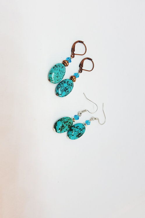 Turquoise Howlite Semi-Precious Gemstone Earrings