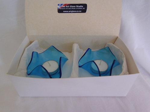 Aqua Blue Candle bowl set of 2