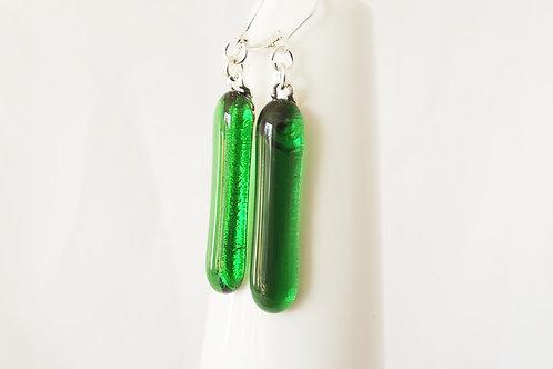 Jade Green Art Glass Earrings