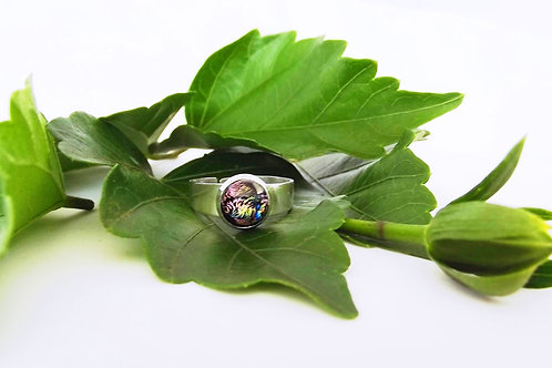 Pink Reflections Art Glass Adjustable Ring