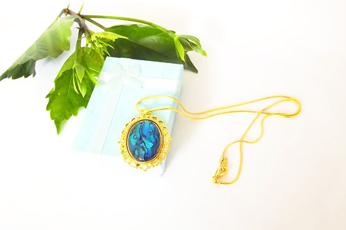 Blue NZ Paua Shell Oval Pendant on Gold