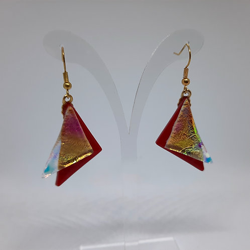 """""""Sailing"""" Red/Gold/Pink Crystal Art Glass and silver Earrings"""