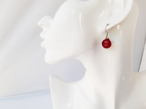 Gorgeous LIttle Red Art Glass Earrings on .925 setting