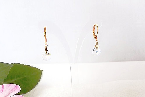 Swarovski Round Crystal a/b Earrings on Gold or silver