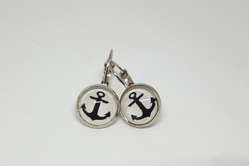 Anchor Earrings - silver Leverback Earrings