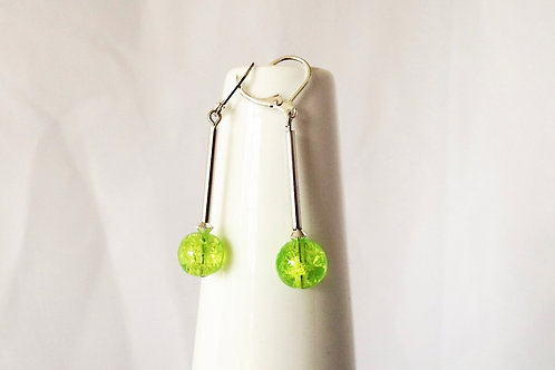 Lime Green Sparkle Glass and Silver Leverback Earrings