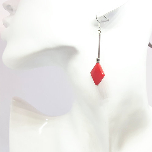Stunning Red Shell & Silver Drop Earrings