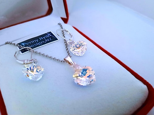 Swarovski Clear AB Heart Crystal Pendant and Earrings on Silver