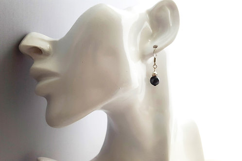Elegant Black Cultured Pearl Earrings with a tiny touch of crystal