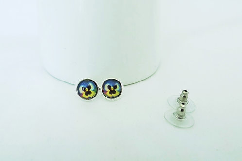Beautiful Pansies Silver & Glass Earring Studs