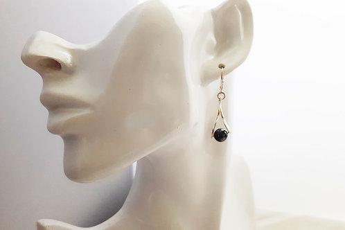 Elegant Shell Pearl Earrings on Curvy Silver Setting - Black or White pearls