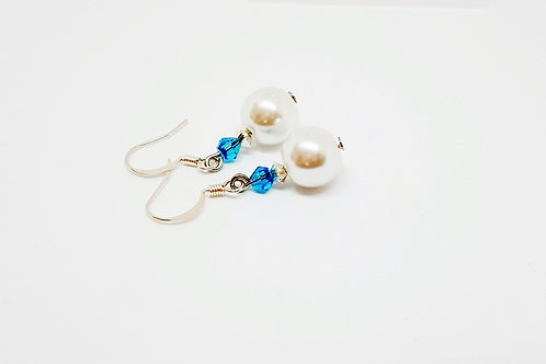 Large White Pearl and Aqua Crystal on SilverEarrings