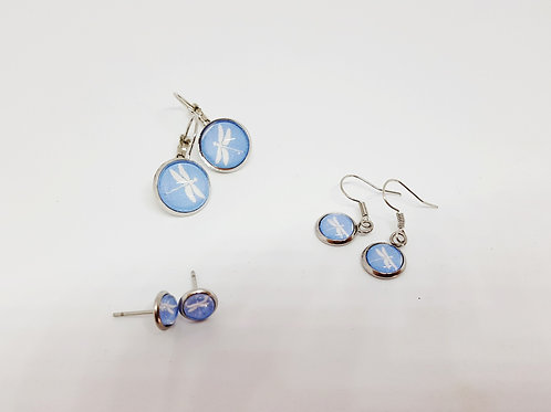 Dragonfly on Blue - various sized earrings