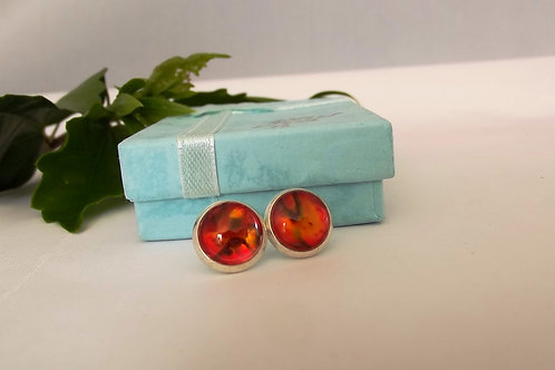Red  .925 fine Silver or Gold Stud Earrings