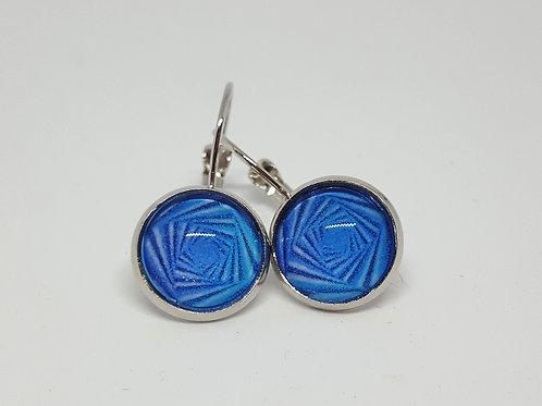 Blue Vortex Earrings - silver Leverback Earrings