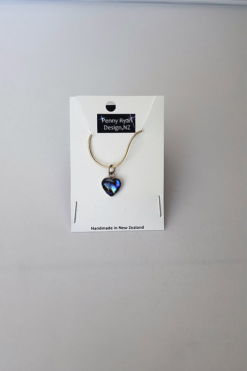 Petite Paua Shell Glass Heart Pendant