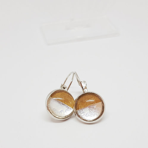 """Gold and Silver Horizon"" .925 fine Silver Leverback Earring"
