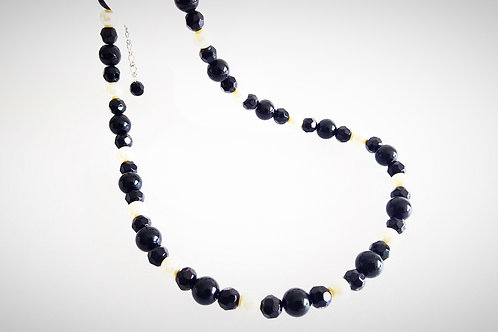 Black Glass and White Pearl Necklace