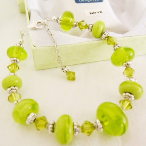 Lime Green Murano Glass Bracelet