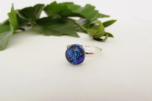Blue Lagoon Art Glass Adjustable Ring