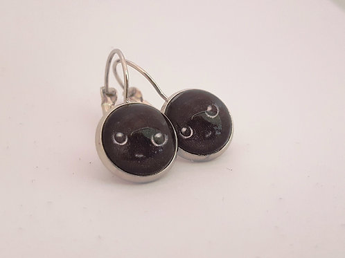 Black Cat Face Earrings - silver Leverback Earrings