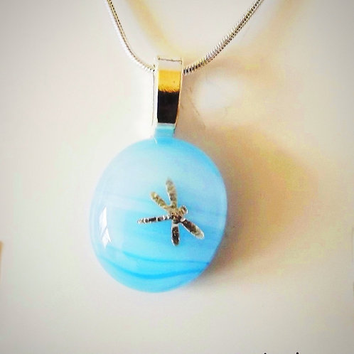 """Dragonfly Sky"" Silver Dragonfly on Blue Art Glass Pendant"