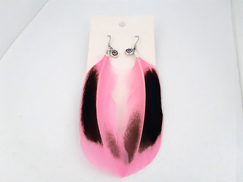 Pink Feather Earrings with Silver Koru