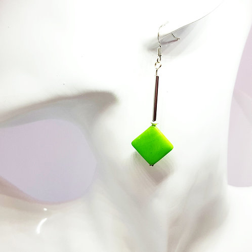 Stunning Green Shell and Silver Drop Earrings